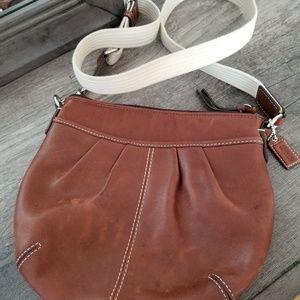 Coach Crossbody Bag Purse Tan Leather